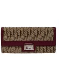 Dior Beige/burgundy Issimo Canvas Flap Continental Wallet - Natural