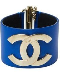Chanel Blue Leather Cc Gold Tone Wide Cuff Bracelet