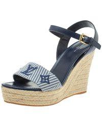 Louis Vuitton Blue Leather And Canvas Wedge Espadrille Platform Ankle Strap Sandals