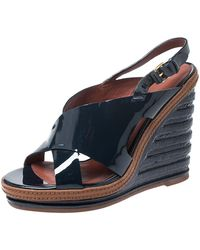 Marc By Marc Jacobs Dark Blue Cross Patent Leather Wedge Sandals