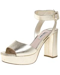 Miu Miu Gold Leather Block Heel Ankle Strap Platform Sandals - Metallic