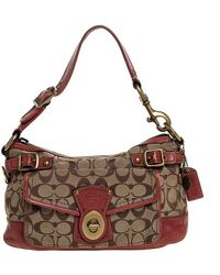 COACH Beige/pale Red Signature Canvas And Leather Hobo - Natural