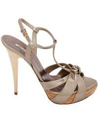 Miu Miu Grey/gold Leather T Strap Cork Sandals - Metallic