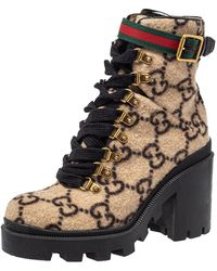 Gucci Beige GG Wool Ankle Boots - Natural