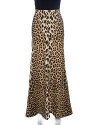 Roberto Cavalli Brown Leopard Print Cotton Maxi Skirt