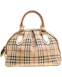 b4d0edfef0e3 Burberry - Haymarket Check Pvc And Leather Thornley Bowling Bag - Lyst