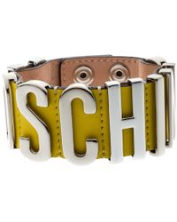 Moschino - Silver Tone Logo Plaque Yellow Leather Cuff Bracelet - Lyst