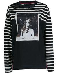 Marc By Marc Jacobs Monochrome Striped Dreamy Rhea Print Sweatshirt L - Black