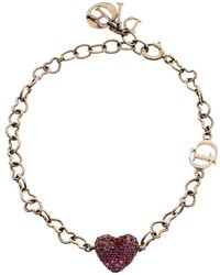 Dior Silver Tone Pink & Red Crystal Studded Heart Charm Bracelet - Metallic