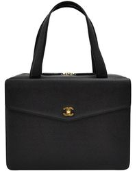 Chanel Black Caviar Leather Front Envelope Small Travel Case