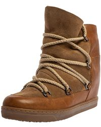 Isabel Marant Brown Suede And Leather Shearling Nowles Ankle Boots