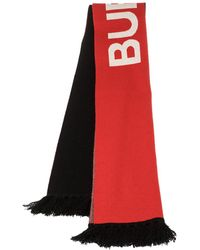 Burberry Bicolor Logo Intarsia Knit Cashmere Football Scarf - Red