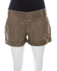 Alice + Olivia Taupe Green Leather Cuffed Shorts
