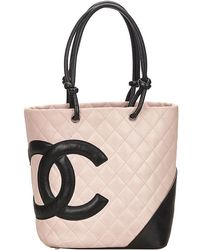 4ebbb2239829 Chanel - Two Tone Quilted Leather Medium Ligne Cambon Tote - Lyst