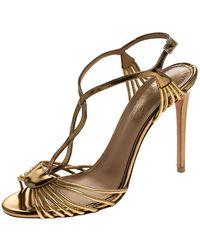 Aquazzura Aquazurra Metallic Gold Leather Josephine Ankle Strap Sandals - Brown