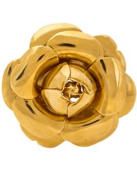 Oscar de la Renta Rosette Gardenia Brooch - Metallic