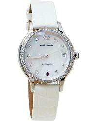 Montblanc Mop Stainless Steel Diamonds Princess Grace De Monaco Wristwatch - White