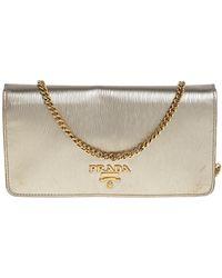 Prada Gold Textured Leather Flap Chain Clutch - Metallic
