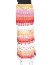 Missoni Multicolor Chevron Pattern Metallic Crochet Knit Maxi Skirt M - Pink
