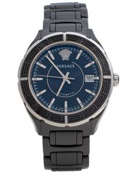 Versace Black Ceramic Stainless Steel Dv One 02a Wristwatch 40 Mm