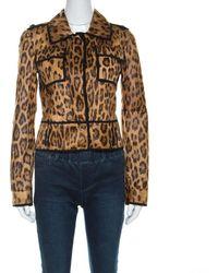 Roberto Cavalli Brown Leopard Pattern Goatskin Fur And Suede Jacket