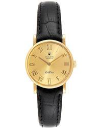 Rolex Champagne 18k Yellow Gold Cellini Classic 5109 Women's Wristwatch 26 Mm - Metallic