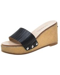 Chanel Woven Leather Wedge Slides Flats - Black