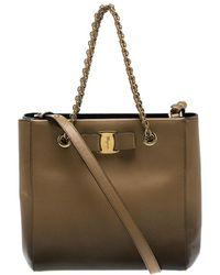 Lyst - Ferragamo Vany Leather Shoulder Bag in Red 2ea9ce2475334