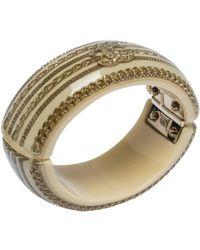 Chanel Resin & Crystal Cc Gold Tone Oval Bangle - Metallic