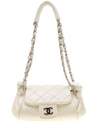 487f93a258c211 Chanel Off White Quilted Leather Small On The Road Flap Bag - Lyst