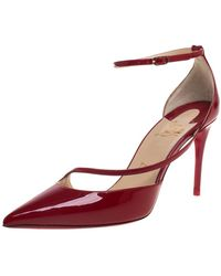 Christian Louboutin Red Patent Leather Fliketta Ankle Strap Pointed Toe Court Shoes
