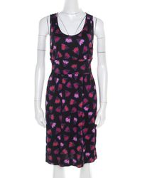 Marc By Marc Jacobs Black Floral Printed Cotton Silk Cross Back Detail Blanche Dress Xs