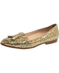 Miu Miu Gold Glitter And Leather Tassel Pointed Toe Flats - Metallic