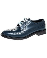 Burberry Blue Brogues Leather Alexton Lace Up Derby Size 41