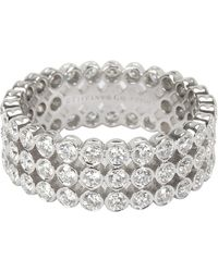 Tiffany & Co. Jazz 2.13 Ctw Diamond Platinum Ring Size 54 - Metallic