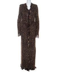 Balmain Brown Metallic Bouclé-knit Fringed Cardigan