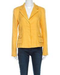 Roberto Cavalli Yellow Textured Linen Blend Button Front Blazer