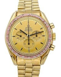 Omega Champagne 18k Yellow Gold Speedmaster Professional Moonwatch Apollo Xi 1969 Ba145.022 Men's Wristwatch 42 Mm