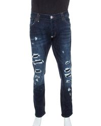 Philipp Plein - Blue Denim Super Straight Cut Snatch Jeans 3xl - Lyst