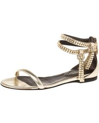 Roberto Cavalli Gold Leather Crystal Embellished Ankle Strap Flat Sandals - Metallic