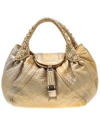 Fendi Gold Holographic Textured Leather Spy Bag - Metallic