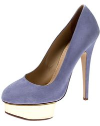 Charlotte Olympia Blue Suede Dolly Platform Court Shoes Size 38.5