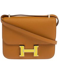 Hermès Sesame Epsom Leather Mini Enamel Lacquer Hardware Constance Bag With Twilly - Multicolor