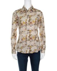 Etro Paisley Printed Long Sleeve Button Front Shirt S - Natural