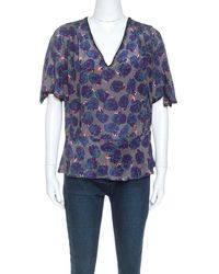 Zadig & Voltaire Multicolor Printed Silk Toy Rose Top - Blue