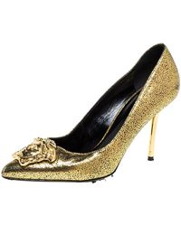 Versace Metallic Gold Textured Leather Medusa Pointed Toe Pumps