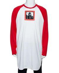 Givenchy Red & White Printed Cotton Baseball T-shirt