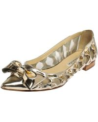 Oscar de la Renta Metallic Gold Patent Leather Bow Ballet Flats