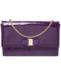 Ferragamo Purple Patent Leather Miss Vara Shoulder Bag