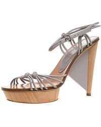 Sergio Rossi Grey Strappy Leather Wooden Platform Ankle Strap Sandals